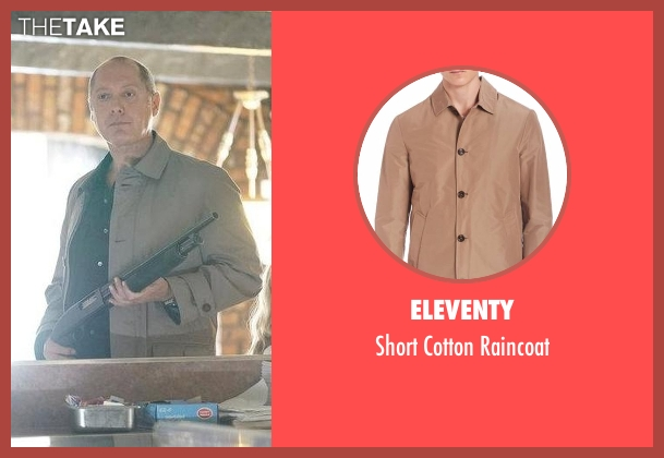 Eleventy beige raincoat from The Blacklist seen with Raymond 'Red' Reddington (James Spader)