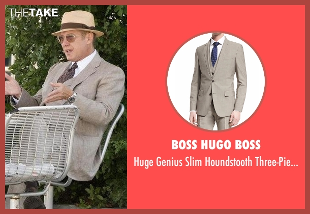 Boss Hugo Boss beige suit from The Blacklist seen with Raymond 'Red' Reddington (James Spader)