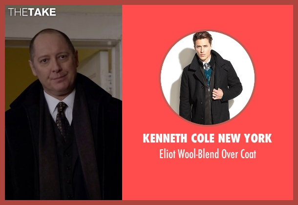 Kenneth Cole New York black coat from The Blacklist seen with Raymond 'Red' Reddington (James Spader)