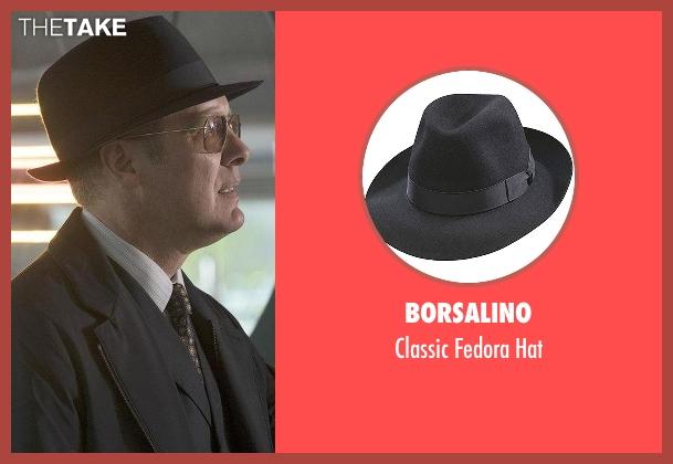 Borsalino black hat from The Blacklist seen with Raymond 'Red' Reddington (James Spader)