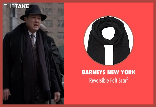 Barneys New York black scarf from The Blacklist seen with Raymond 'Red' Reddington (James Spader)
