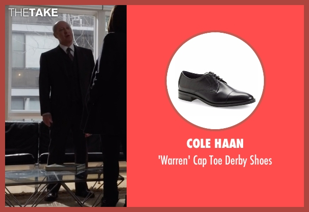 Cole Haan black shoes from The Blacklist seen with Raymond 'Red' Reddington (James Spader)