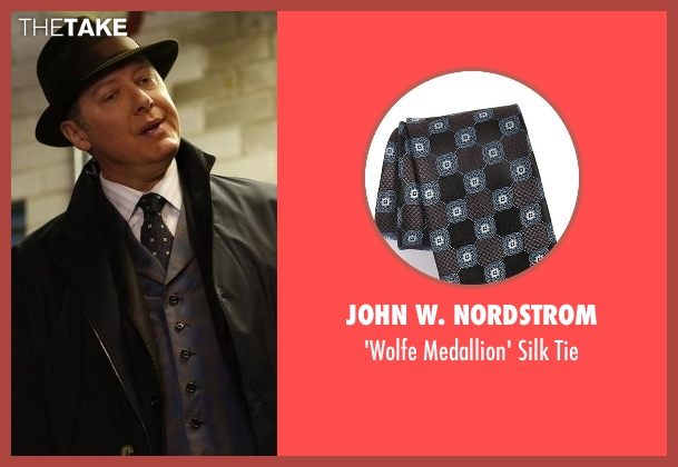 John W. Nordstrom black tie from The Blacklist seen with Raymond 'Red' Reddington (James Spader)