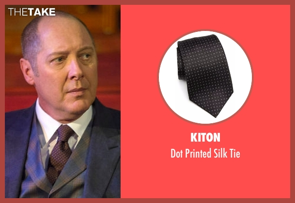 Kiton black tie from The Blacklist seen with Raymond 'Red' Reddington (James Spader)