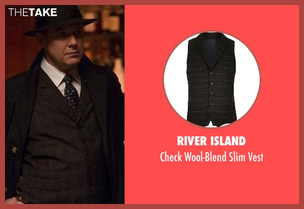 River Island black vest from The Blacklist seen with Raymond 'Red' Reddington (James Spader)