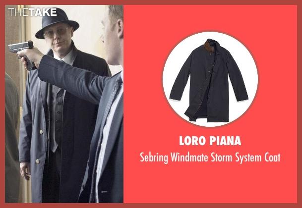 Loro Piana blue coat from The Blacklist seen with Raymond 'Red' Reddington (James Spader)