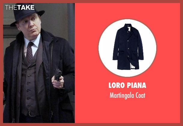 Loro Piana blue coat from The Blacklist seen with Raymond 'Red' Reddington (James Spader)