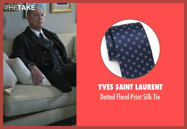 Yves Saint Laurent blue tie from The Blacklist seen with Raymond 'Red' Reddington (James Spader)
