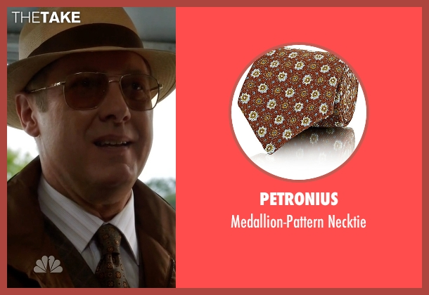 Petronius brown necktie from The Blacklist seen with Raymond 'Red' Reddington (James Spader)