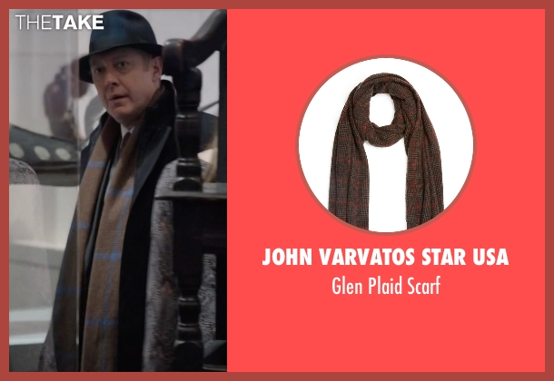 John Varvatos Star USA brown scarf from The Blacklist seen with Raymond 'Red' Reddington (James Spader)
