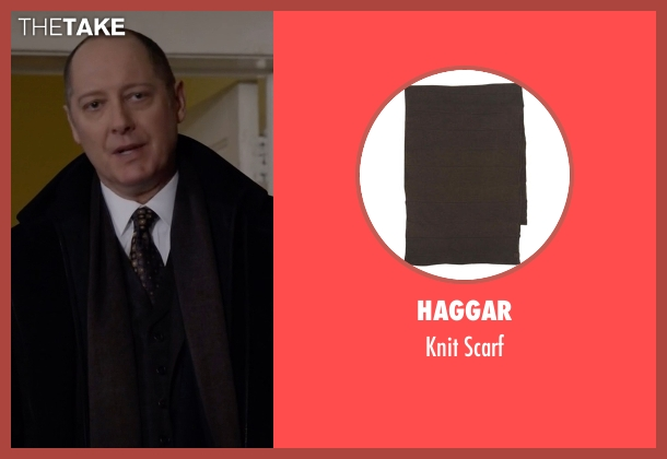 Haggar brown scarf from The Blacklist seen with Raymond 'Red' Reddington (James Spader)