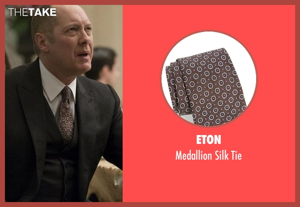 Eton brown tie from The Blacklist seen with Raymond 'Red' Reddington (James Spader)