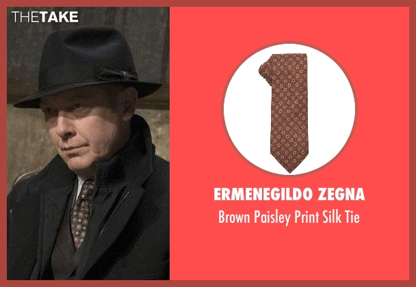 Ermenegildo Zegna brown tie from The Blacklist seen with Raymond 'Red' Reddington (James Spader)