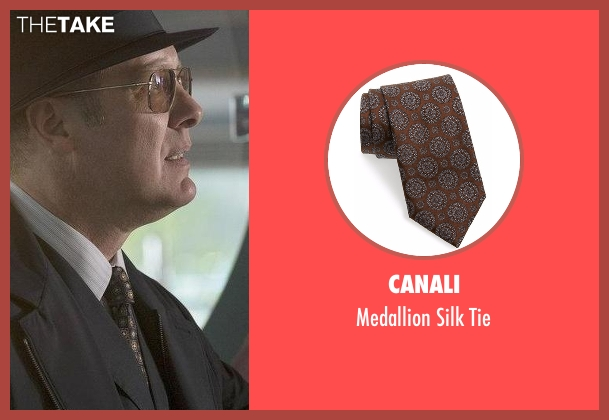 Canali brown tie from The Blacklist seen with Raymond 'Red' Reddington (James Spader)