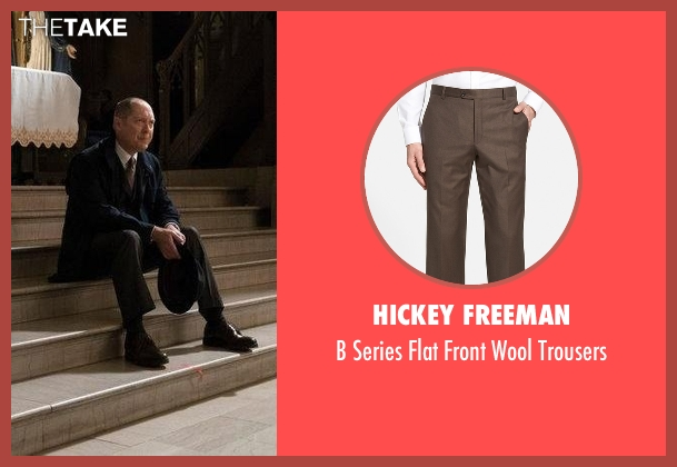 Hickey Freeman brown trousers from The Blacklist seen with Raymond 'Red' Reddington (James Spader)