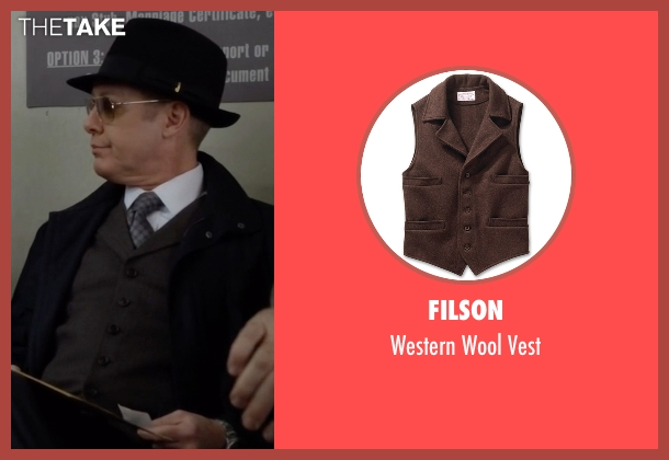 Filson brown vest from The Blacklist seen with Raymond 'Red' Reddington (James Spader)