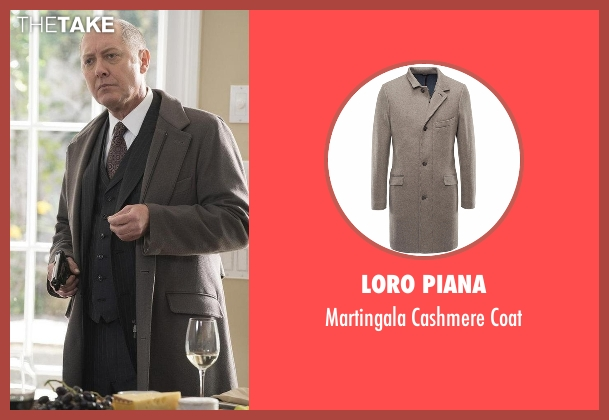 Loro Piana gray coat from The Blacklist seen with Raymond 'Red' Reddington (James Spader)