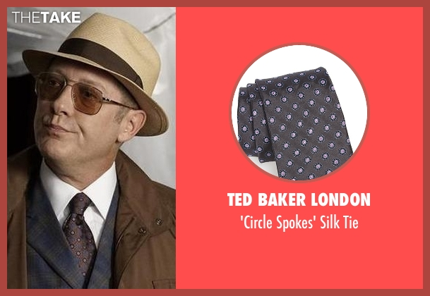Ted Baker London gray tie from The Blacklist seen with Raymond 'Red' Reddington (James Spader)