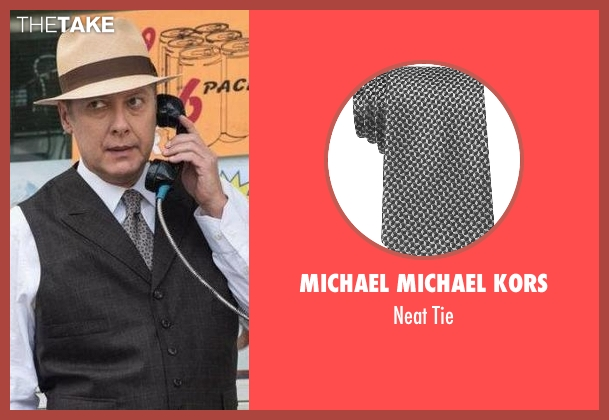 Michael Michael Kors gray tie from The Blacklist seen with Raymond 'Red' Reddington (James Spader)