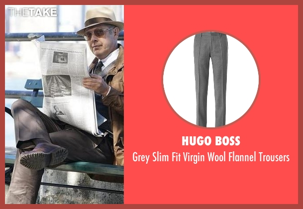 Hugo Boss gray trousers from The Blacklist seen with Raymond 'Red' Reddington (James Spader)