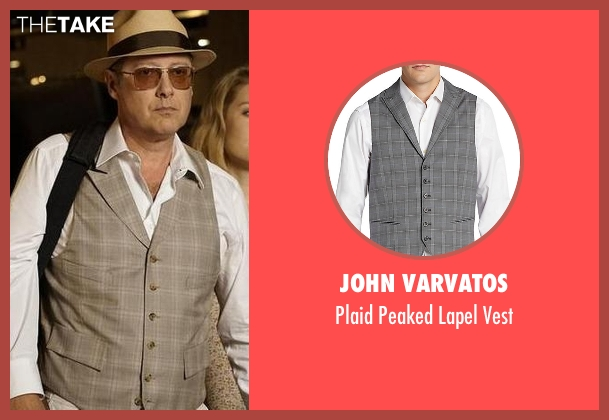 John Varvatos gray vest from The Blacklist seen with Raymond 'Red' Reddington (James Spader)
