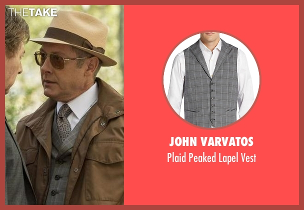 John Varvatos gray vest from The Blacklist seen with Raymond 'Red' Reddington (James Spader)