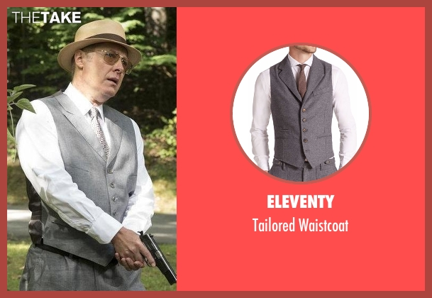 Eleventy  gray waistcoat from The Blacklist seen with Raymond 'Red' Reddington (James Spader)