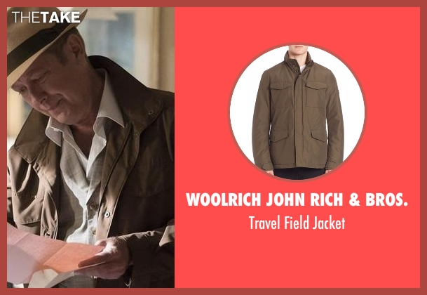 Woolrich John Rich & Bros. green jacket from The Blacklist seen with Raymond 'Red' Reddington (James Spader)