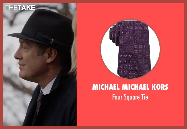 Michael Michael Kors purple tie from The Blacklist seen with Raymond 'Red' Reddington (James Spader)