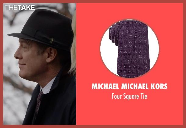 Michael Michael Kors purple tie from The Blacklist seen with Raymond 'Red' Reddington (James Spader)