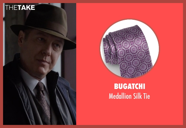Bugatchi purple tie from The Blacklist seen with Raymond 'Red' Reddington (James Spader)