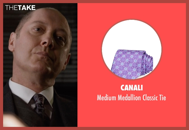 Canali purple tie from The Blacklist seen with Raymond 'Red' Reddington (James Spader)