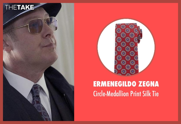 Ermenegildo Zegna red tie from The Blacklist seen with Raymond 'Red' Reddington (James Spader)