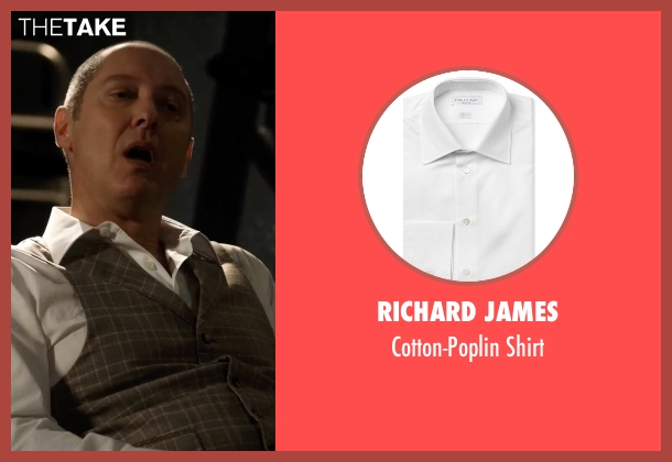 Richard James white shirt from The Blacklist seen with Raymond 'Red' Reddington (James Spader)