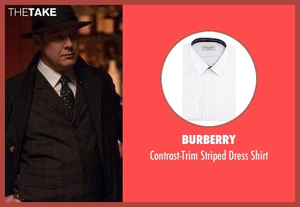 Burberry white shirt from The Blacklist seen with Raymond 'Red' Reddington (James Spader)