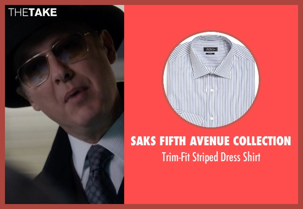 Saks Fifth Avenue Collection white shirt from The Blacklist seen with Raymond 'Red' Reddington (James Spader)
