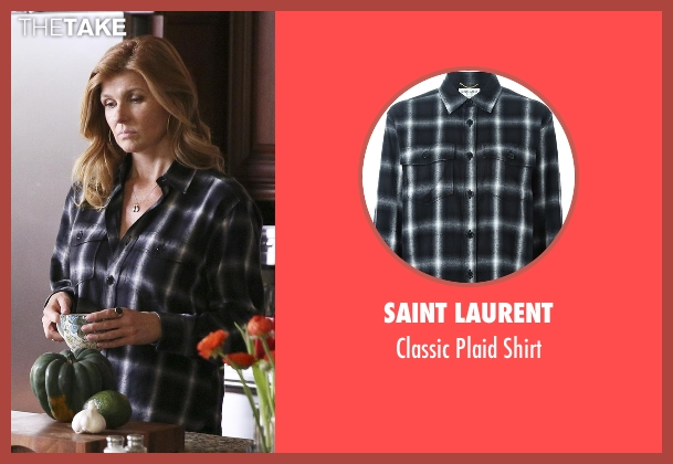 Saint Laurent black shirt from Nashville seen with Rayna Jaymes  (Connie Britton)