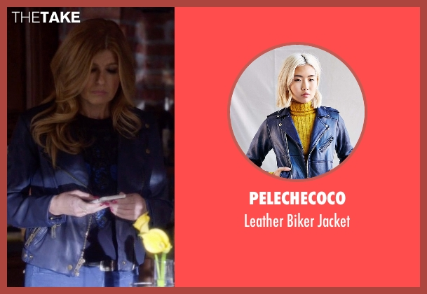 PeleCheCoco blue biker jacket from Nashville seen with Rayna Jaymes  (Connie Britton)