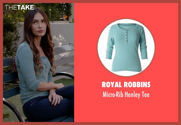 Royal Robbins blue tee from New Girl seen with Reagan (Megan Fox)