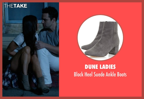 Dune Ladies gray boots from New Girl seen with Reagan (Megan Fox)