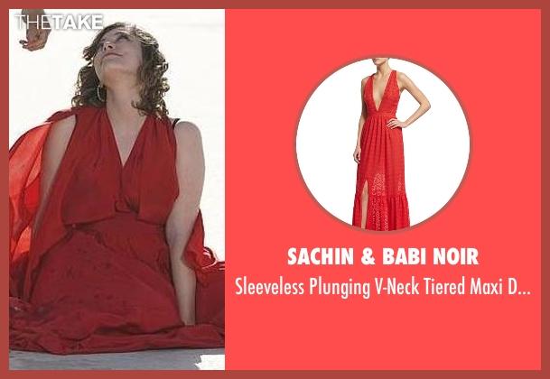 Sachin & Babi Noir red dress from Crazy Ex-Girlfriend seen with Rebecca Bunch (Rachel Bloom)