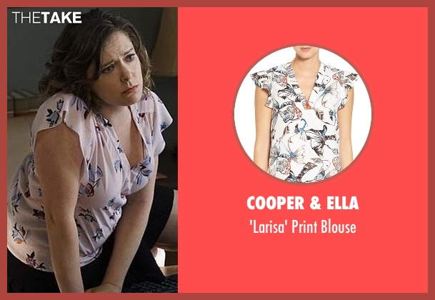 Cooper & Ella white blouse from Crazy Ex-Girlfriend seen with Rebecca Bunch (Rachel Bloom)