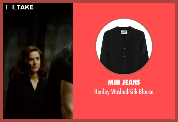 Mih Jeans black blouse from Mission: Impossible - Rogue Nation seen with Rebecca Ferguson (Ilsa Faust)