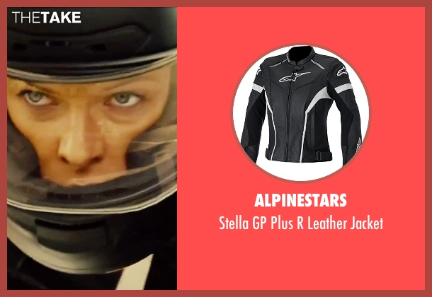 Alpinestars black jacket from Mission: Impossible - Rogue Nation seen with Rebecca Ferguson (Ilsa Faust)