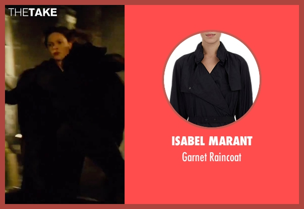 Isabel Marant black raincoat from Mission: Impossible - Rogue Nation seen with Rebecca Ferguson (Ilsa Faust)