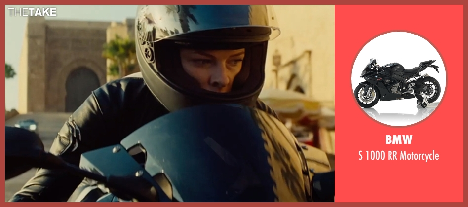 BMW motorcycle from Mission: Impossible - Rogue Nation seen with Rebecca Ferguson (Ilsa Faust)