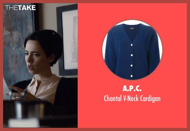 A.P.C. blue cardigan from The Gift seen with Rebecca Hall (Robyn)