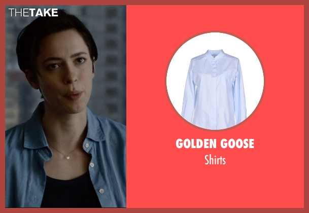 Golden Goose blue shirts from The Gift seen with Rebecca Hall (Robyn)