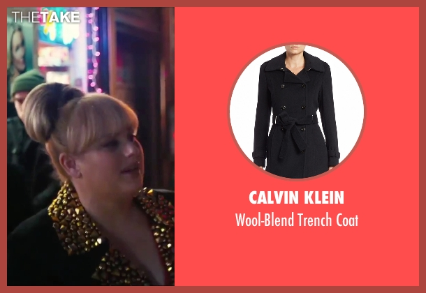 Calvin Klein black coat from How To Be Single seen with Rebel Wilson (Robin)
