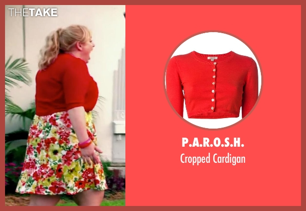 P.A.R.O.S.H. red cardigan from Pain & Gain seen with Rebel Wilson (Robin Peck)